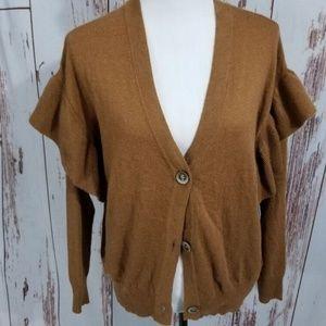 Anthro Line + Dot brown juliet sleeve sweater